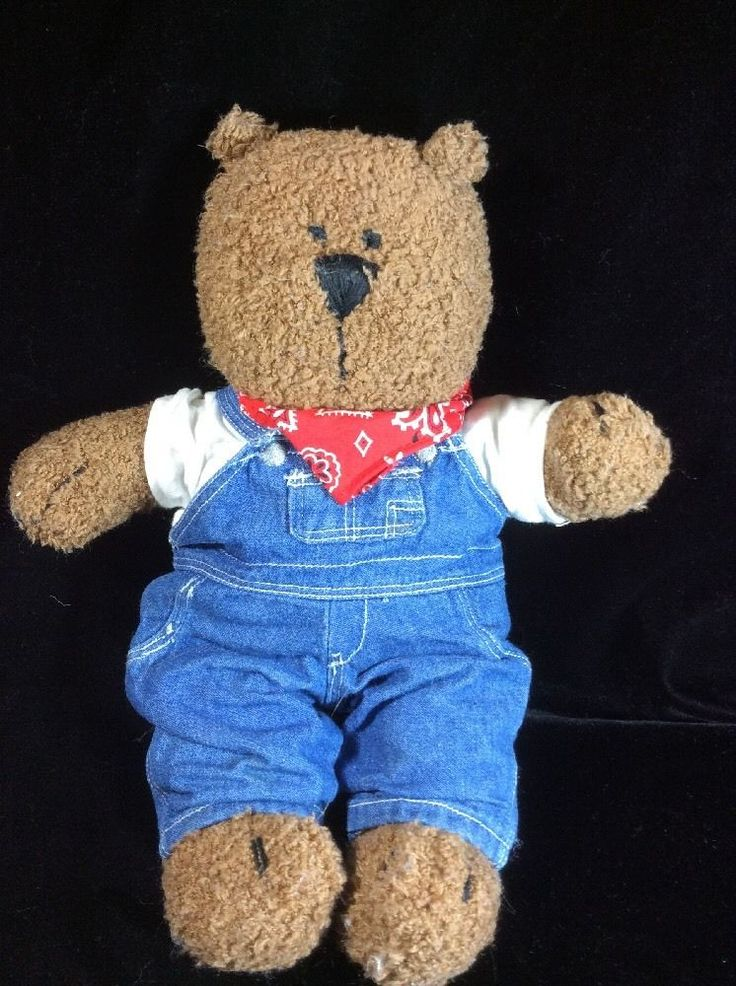 baby gap teddy bear classic denim overalls red bandana. Black Bedroom Furniture Sets. Home Design Ideas
