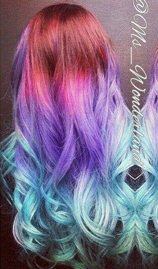 Blue purple ombre pastel hair
