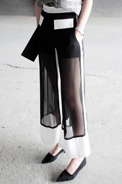 Color Block Transprent Black Pants
