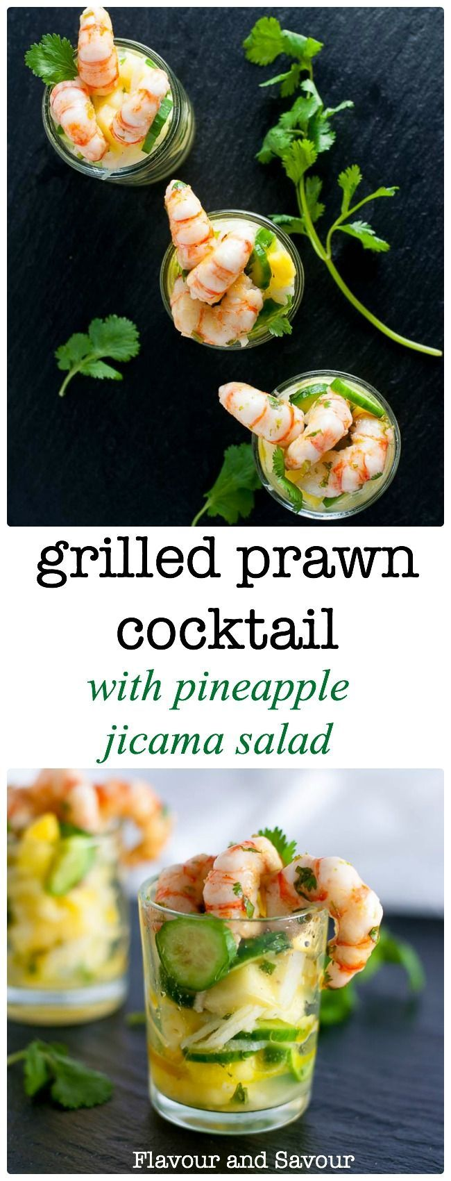 This Grilled Prawn Cocktail with Pineapple Jicama Salad combines juicy pineapple, crisp cucumber and jicama with a tangy cilantro lime dressing. Top with fresh grilled prawns or shrimp for a spectacular mini appetizer. via /enessman/