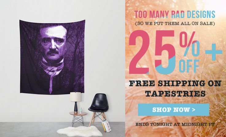 25% Off + Free Worldwide Shipping on Wall Tapestries - Sale Ends Tonight at Midnight PT! Edgar Allan Poe Wall Tapestry. #discount #gifts #sales #save #walltapestry #freeshipping #homedecor #poewalltapestry #giftsforher #giftsforhim #society6 #edgarallanpoetapestry #gothicwalltapestry #gothicgifts #gothic #homedecor #homegifts