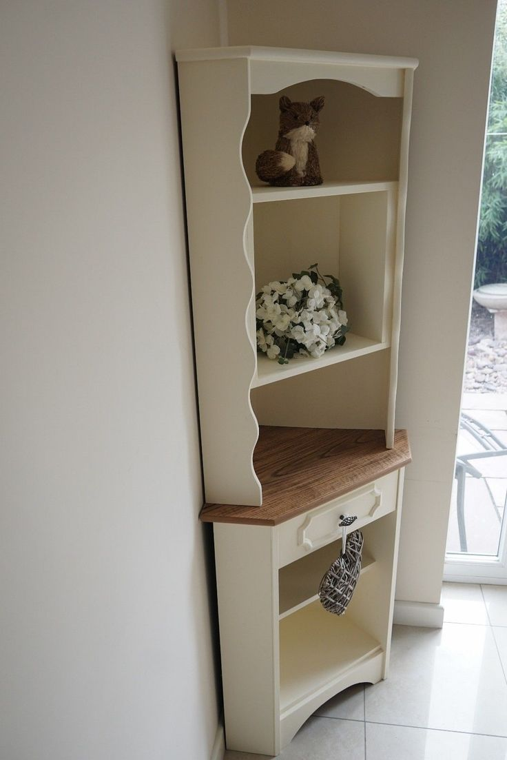 Beautiful Painted Shabby Chic Oak Corner Display Unit In Home Furniture DIY Cabinets Cupboards