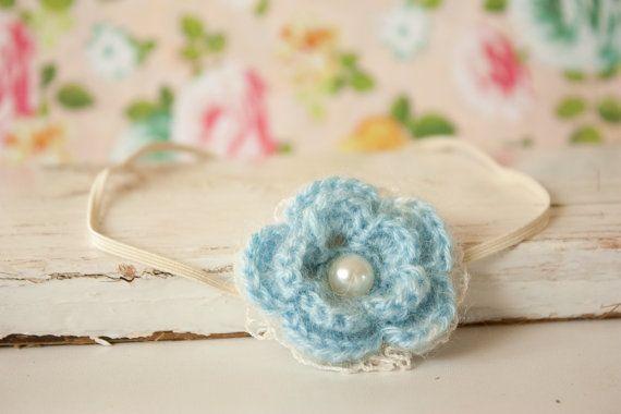 Blue Crochet Flower Headband Lace Crochet by BeautyfromashesUSA