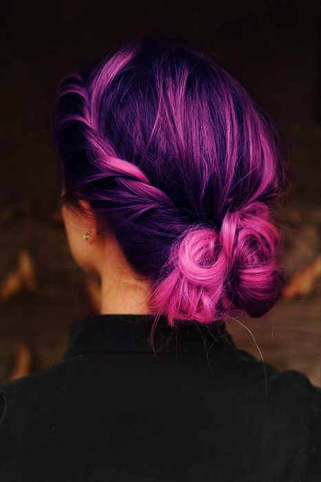 Purple Violet Red Cherry Pink Bright Hair Colour Color Coloured Colored Fire Style
