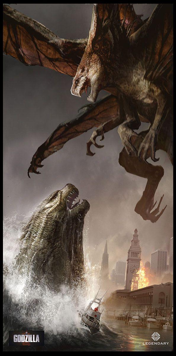 """Godzilla vs. Muto - Conceptual art created for Legendary/Warner Bros' """"Godzilla"""" (2014) by conceptual illustrator Dominic Lavery"""