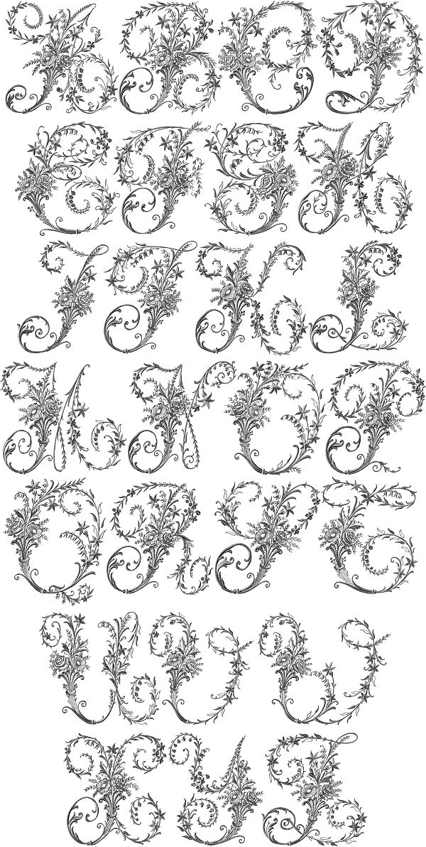 Such a beautiful alphabet based on Victorian whitework embroidery.