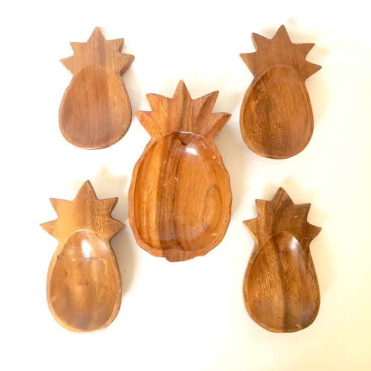 Wooden Pineapple Bowls / Set of 5 Wooden Pineapple catch all trinket bowls / nut bowl by EllasAtticVintage on Etsy