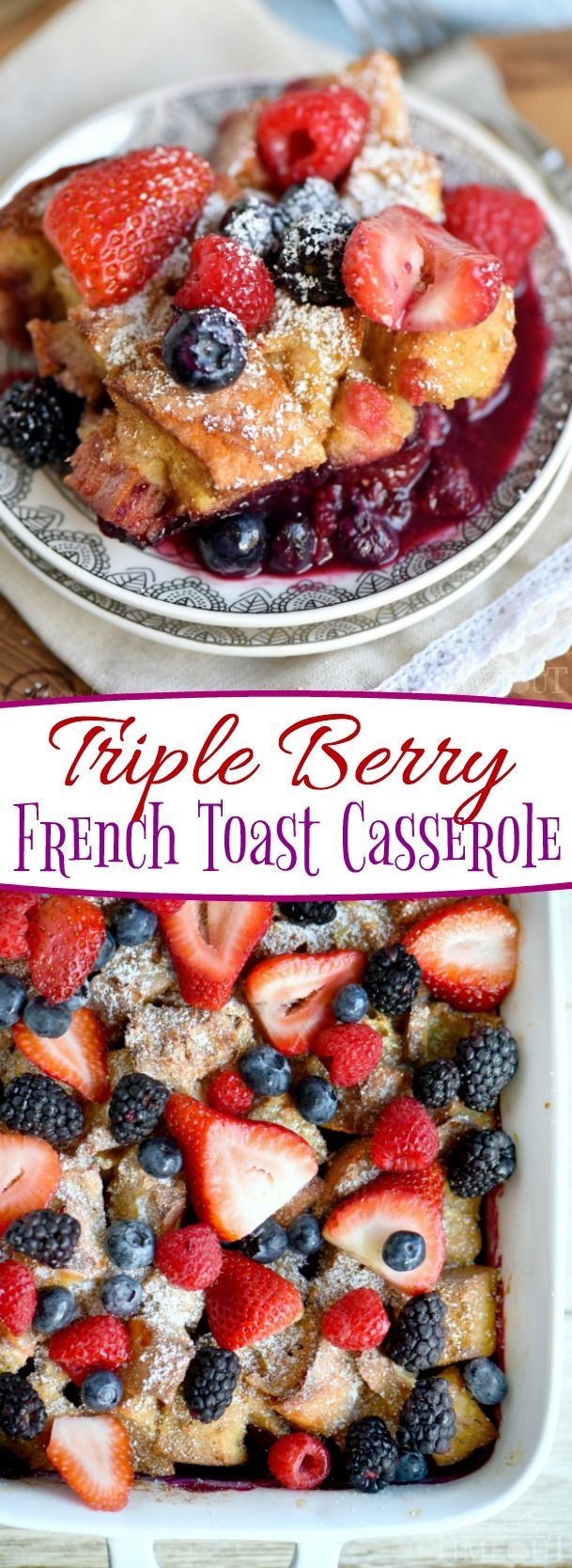 This Triple Berry French Toast Casserole is going to be a new family favorite! Incredibly easy and bursting with berry flavor! Great for breakfast or brunch, Christmas, Easter, Mother's Day and more! // Mom On Timeout #breakfast #brunch #recipe #berry #frenchtoast #casserole
