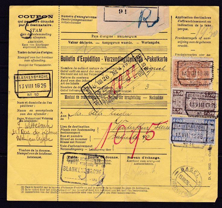 Belgien Paketkarte von Blankenberghe nach Winterthur/Schweiz, 1926