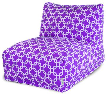 Indoor Purple Links Bean Bag Chair Lounger - contemporary - Bean Bag Chairs - Majestic Home Goods