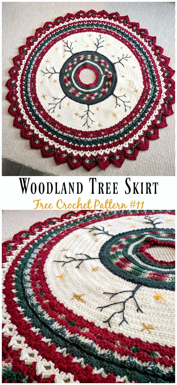 Woodland Tree Skirt Free Crochet Pattern Christmastree Skirt Crochet Free Christmas Tree Skirt Crochet Pattern Crochet Tree Christmas Crochet Patterns