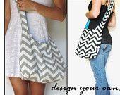 Hobo Bag. Sling Purse. Cross Body Bag. Reversible Purse.Design Your Own Purse.  Chevron. Corduroy. Flowers. Fall Line.