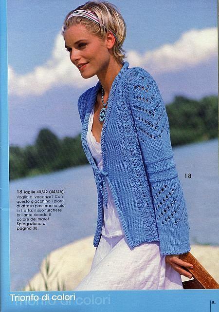 bolerino ajour turchese maglia donna (1) Lavoro A Maglia Estivo 30b1a1e8dc16