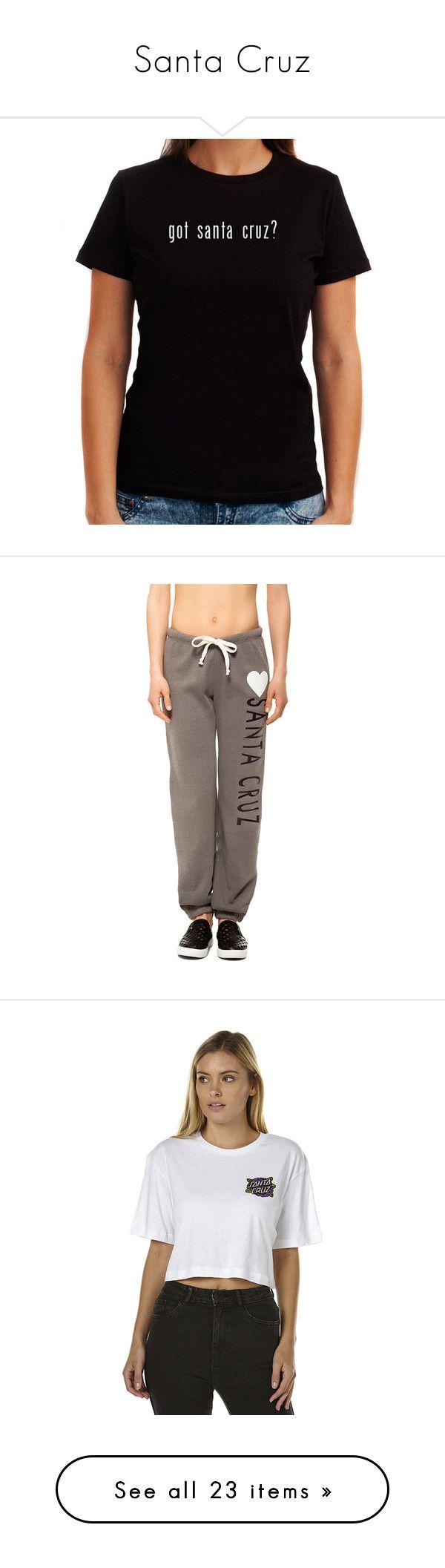 """Santa Cruz"" by sun-summoner ❤ liked on Polyvore featuring tops, t-shirts, black, women's clothing, activewear, activewear pants, grey, grey sweatpants, drawstring sweat pants and gray sweat pants"