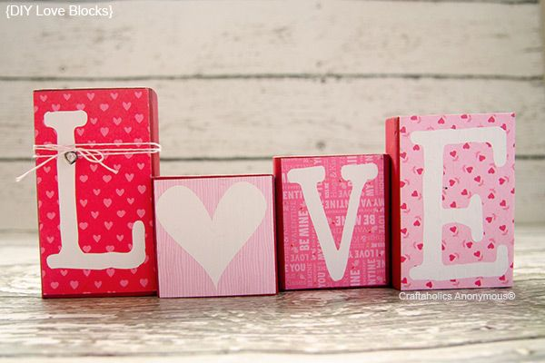 Valentine's Day Craft | Love Block Valentine Decor. -Made with boxes, covered in colorful tissue paper and painted