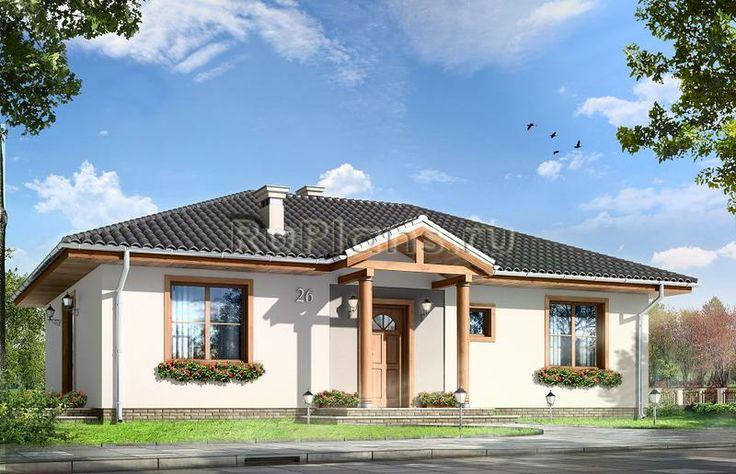 Проект одноэтажного дома на 81 м2. Размеры дома: 12 Х 8 м. Наружная отделка: штукатурка, облицовочный кирпич, дерево. Стоимость проекта дома 24400