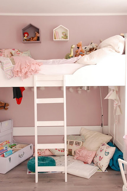 Too cute... Put her closet and drawers underneath for small rooms? Or a curtain for her own playhouse/alone time?