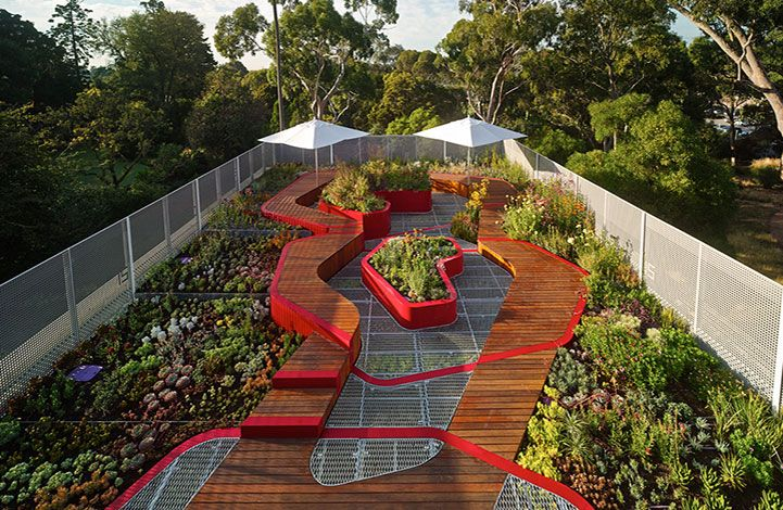 The Burnley Living Roofs at the University of Melbourne's Burnley Campus. Both a research and teaching space, also providing a green wedge in an otherwise redundant urban space. Superb!