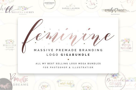 Feminine Premade Logo Gigabundle by SNIPESCIENTIST on @creativemarket