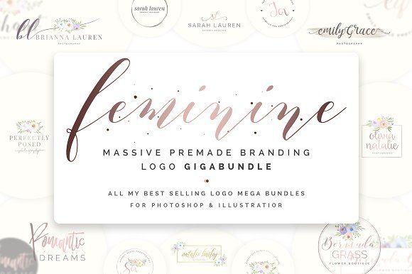 Feminine Premade Logo Gigabundle by SNIPESCIENTIST on @creativemarket  #affiliate