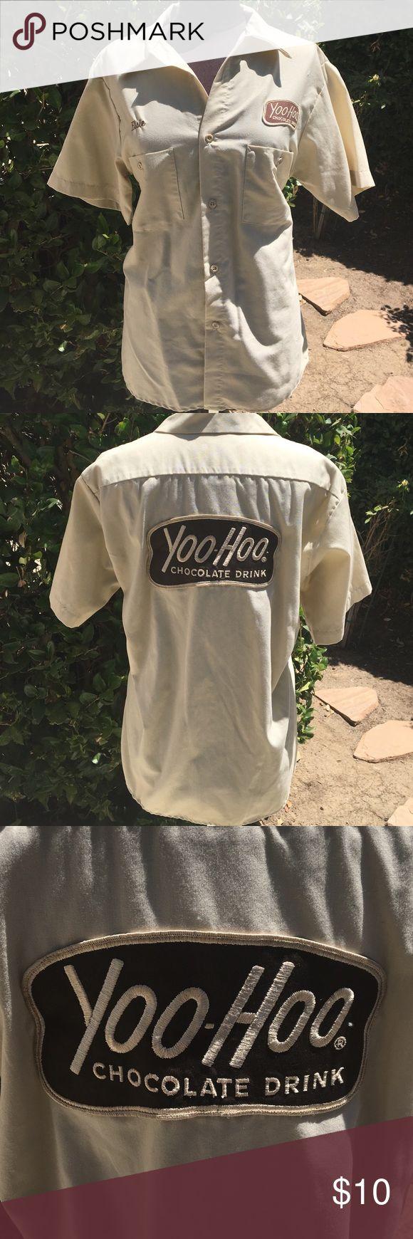 "Yoo-hoo Chocolate Drink SHIRT Industrial Shirt M 1/2 sleeve , Yoo-hoo Choc Drink Logo, name tag says ""Elsie"" .                 85% Polyester.    35% Cotton EWC  Tops Button Down Shirts"