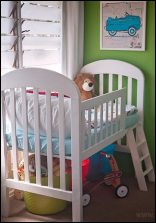 Maximise the use of your child's crib/cot as he or she transitions from being a baby to a toddler - turn that old crib into a toddler loft bed! Clever isn't it?