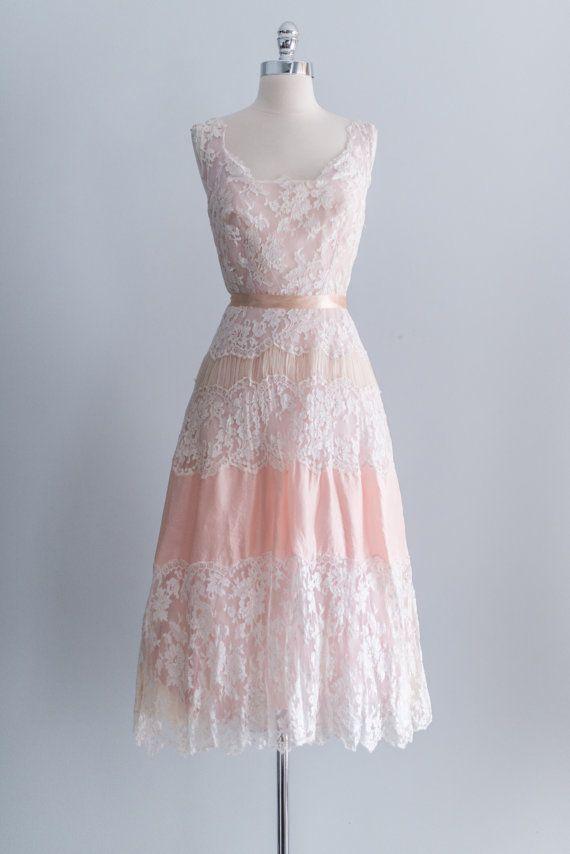 NEW LISTING 1950's Silk Peach Pink Lace Organza by ShopGossamer, $148.00