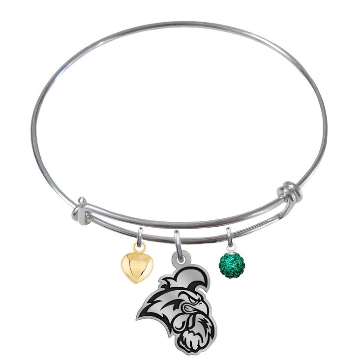Coastal Carolina University Chanticleers Sterling Silver Adjustable Bangle Cutout Charm Bracelet. Officially Licensed Coastal Carolina University Chanticleers Bracelet. Solid Sterling Silver - NOT PLATED. Adjustable Bracelet Size. High Quality - Great Detail. Antique Finish Cutout Logo Charm.
