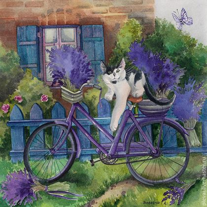 Животные ручной работы. Ярмарка Мастеров - ручная работа. Купить Картина акварелью Кеша в Провансе с велосипедом. Handmade. Фиолетовый, акварель