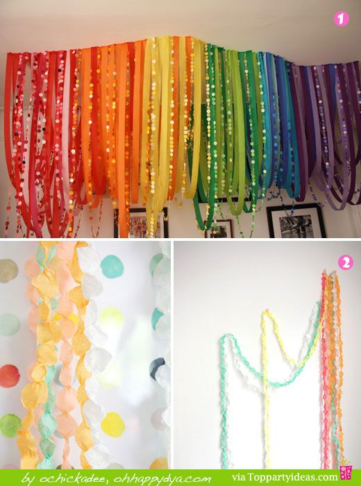 Paper Streamer Decorations 1 and 2 - Rainbow colored, pinched streamers