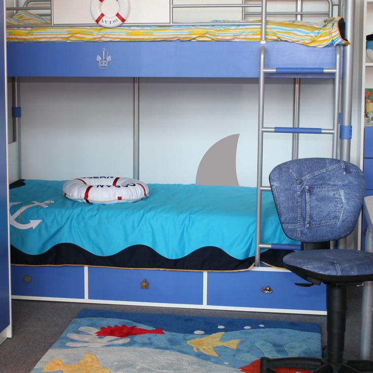 Shark Fin - Wall Decals Stickers Graphics.... love the blue bunks too.  Perhaps we can paint whatever bunk we get for our littles!  <3