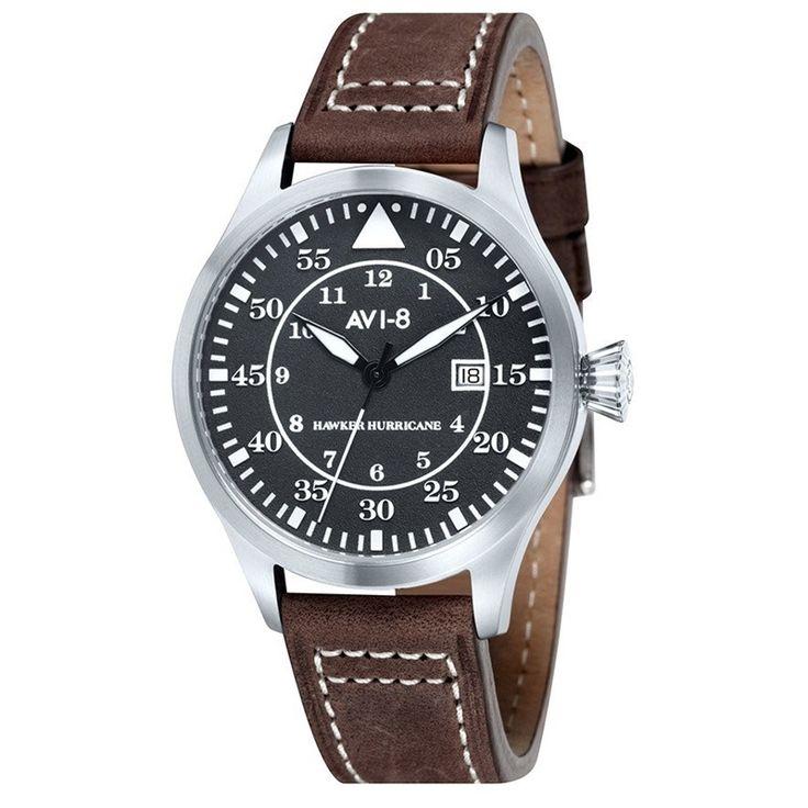 AVI-8 Hawker Hurricane AV-4012-02 Orologio da Polso Uomo Militare al Quarzo 50m #avi-8 #hawker #hurricane #watches #military #men #wristwatch #leather