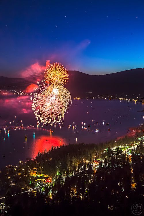"""""""Kings Beach Fireworks 2"""" - Photograph of the 4th of July fireworks show above Kings Beach, Lake Tahoe."""