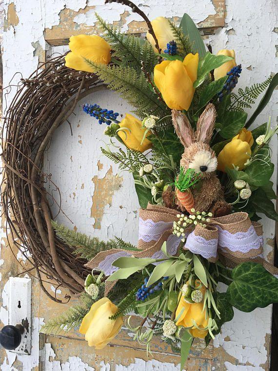 Spring Wreath for Front Door Easter Wreath Easter Bunny