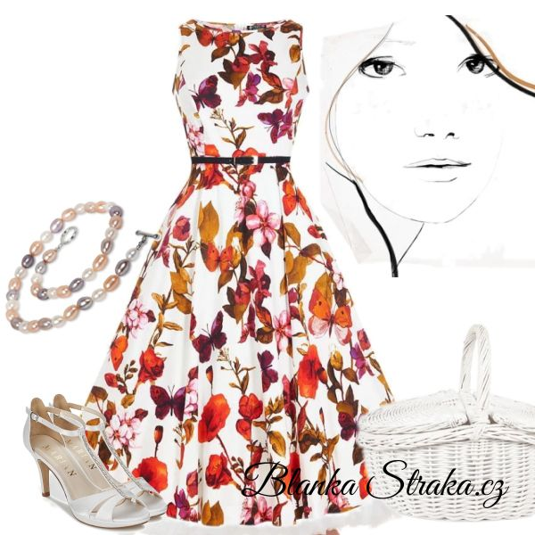 Retro šaty Lady V London Audrey White Butterfly Floral