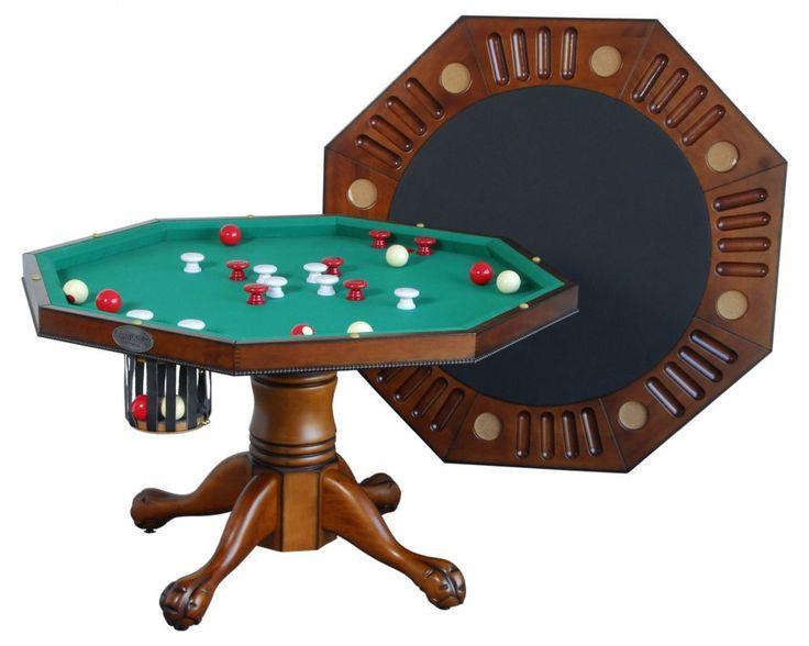 "Berner Billiards Multi 3 in 1 Table - Octagon 48"" w/Bumper Pool - Antique Walnut"