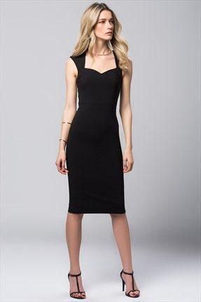 Milla by trendyol x Çağla Şıkel - Vatkalı Siyah Elbise MLWSS156907 sadece 79,99TL ile Trendyol da