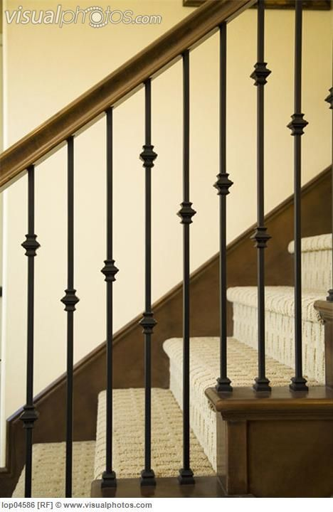 rod iron banisters | Detail of Wraight Iron and Wood Railing [lop04586] > Stock Photos ...