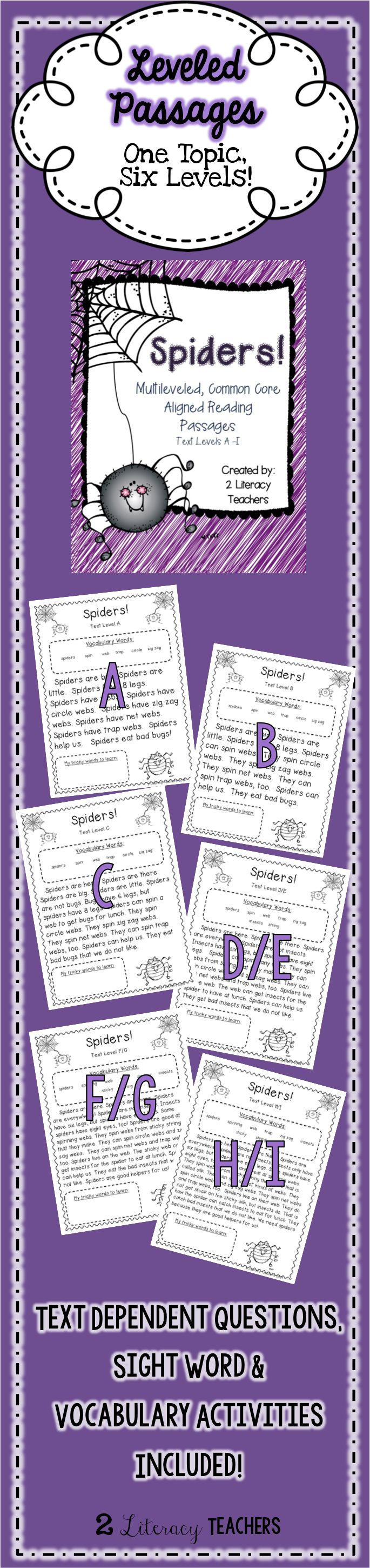 Spiders! Leveled Passages. One topic, six levels. Perfect for differentiation. Can be used for small group or whole group. Allows each student to access content at their level. Perfect to supplement your spider themes!!