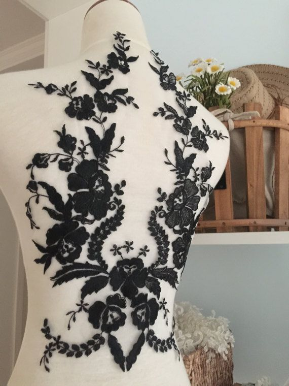 Exquisite Wedding Lace Applique in Black  Bridal Veil by lacetime
