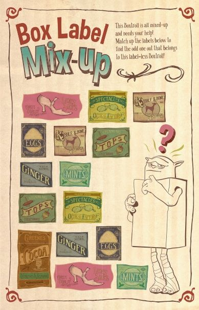 Free printables and activities inspired by The Boxtrolls