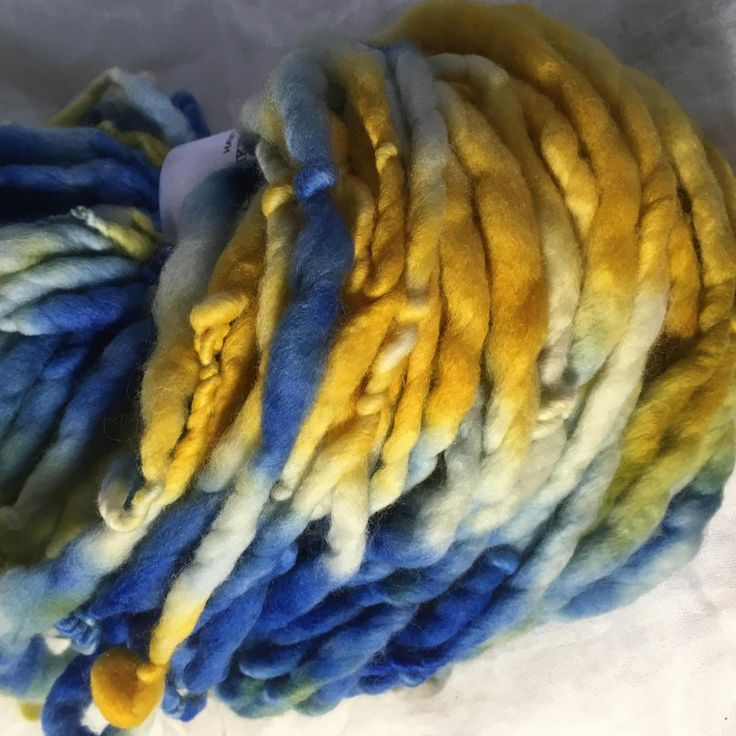 Blue and Yellow - Merino handspun chunky by hawthornecottage on Etsy