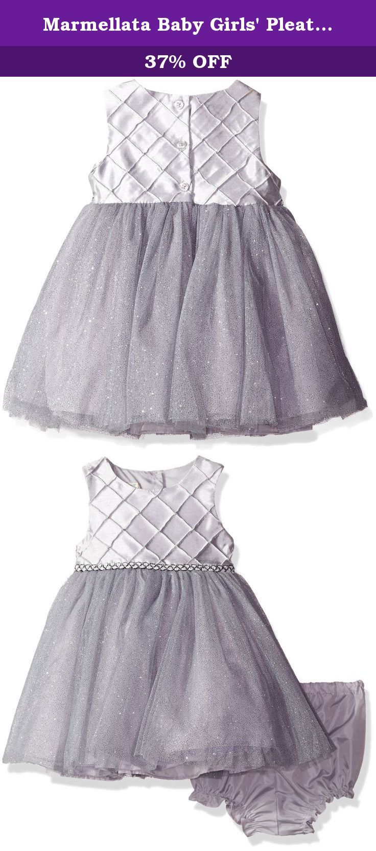 Marmellata Baby Girls' Pleated Bodice Holiday Party Dress, Silver, 24 Months. This fun ballerina holiday party dress has a diamond pleated bodice and a full tulle skirt with glitter sparkles.