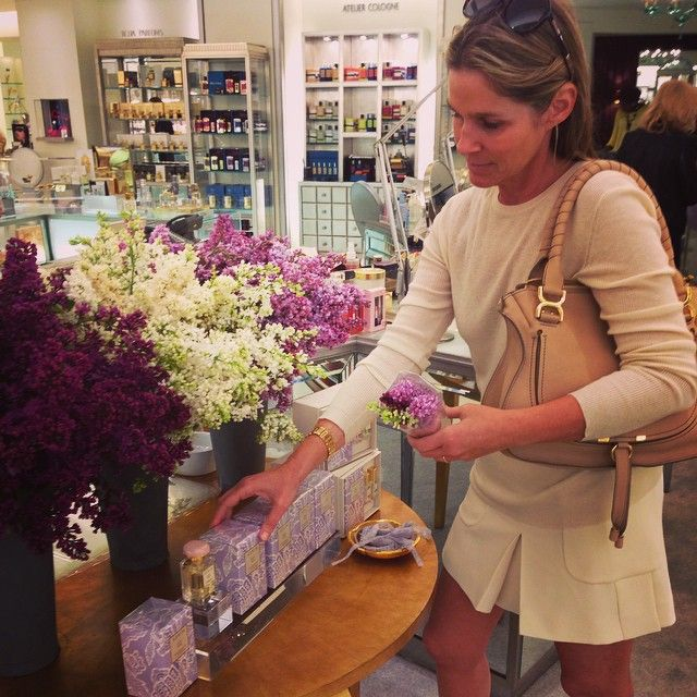 """""""Lilacs are one of my favorite flowers. Now thru Sunday @bergdorfs receive a lilac bouquet with any #AERINBeauty purchase. #MothersDay #FloralFridays"""""""