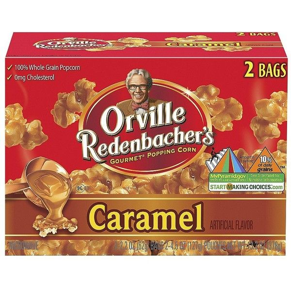 Orville Redenbacher's Gourmet Popping Corn Microwave Caramel Popcorn... ❤ liked on Polyvore featuring food