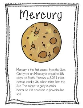 Planet Informational sheets for elementary school!  We used it for an informational search at the beginning of our Solar System unit in 3rd grade.  Please rate if you decide to download this resource. :)  ONE FACT SHEET EACH FOR: ~*Mercury, Venus, Earth, Mars, Jupiter, Saturn, Uranus, Neptune*~  Each fact sheet includes: - Distance from Sun - Order from the Sun - Diameter of the planet - Fun facts about the planet!