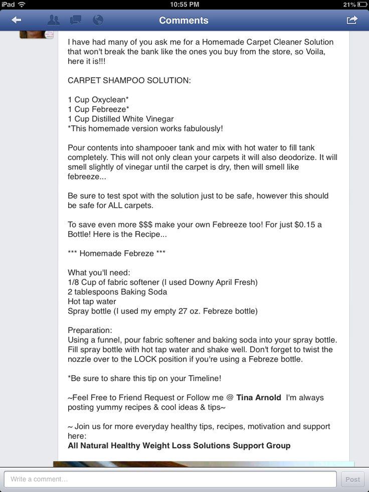 Carpet shampoo solution