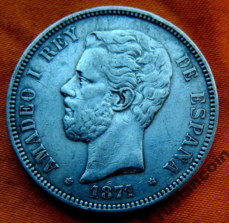 РАСПРОДАЖА 5 Песет 1871 Амадео СЕРЕБРО 900 с Рубля