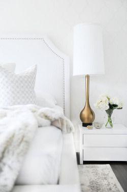 white bedroom design bed wallpaper monochrome architecture Interior Design interiors decor Lamp headboard decorpad.com