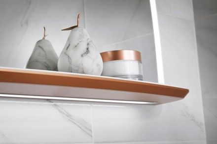 Copper lined shelf from Utopia Bathrooms.